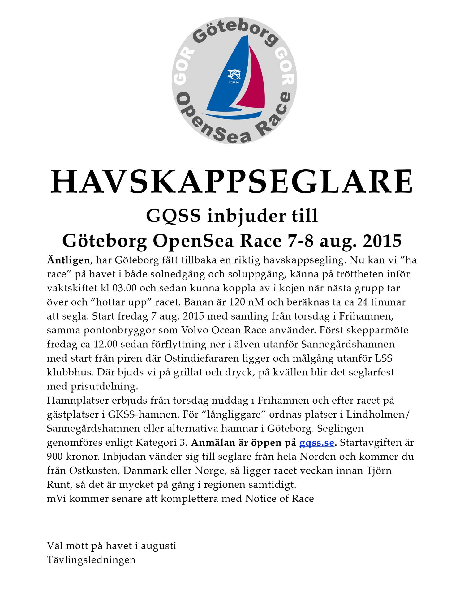 Göteborg OpenSea Race 7-8 aug