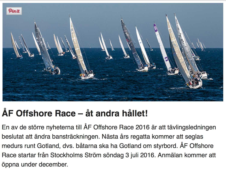 ÅF Offshore Race byter håll