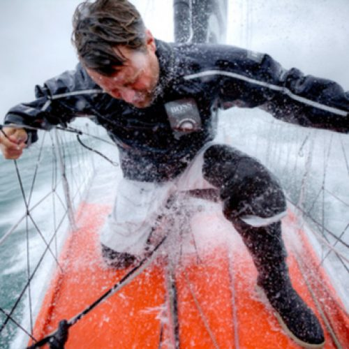 Onboard the IMOCA Open 60 Alex Thomson Racing Hugo Boss during a training session before the Vendée Globe. The Vendée Globe is a round-the-world single-handed yacht race, sailed non-stop and without assistance.