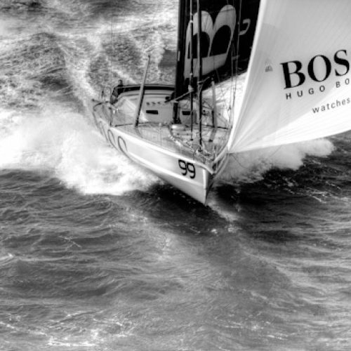 Aerial photo-shoot of the IMOCA Open 60 Alex Thomson Racing Hugo Boss during a training session before the Vendée Globe in the English Channel.
