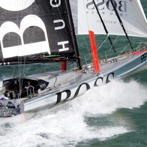 Aerial photo-shoot of the IMOCA Open 60 Alex Thomson Racing Hugo Boss during a training session before the Vendée Globe in the English Channel.The Vendée Globe is a round-the-world single-handed yacht race, sailed non-stop and without assistance.
