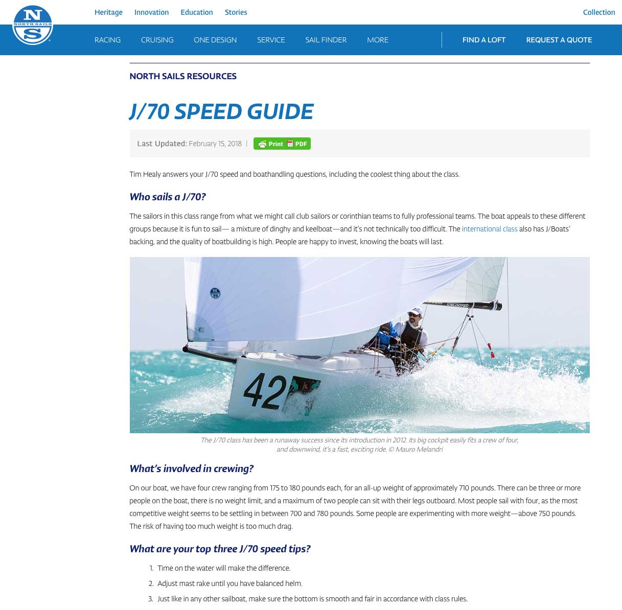North Sails J/70 Speed Guide