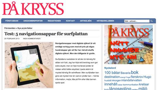 På Kryss testar appar för navigation