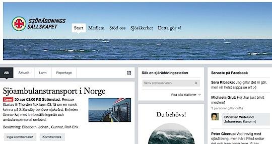 Sjöräddningssällskapets nya web